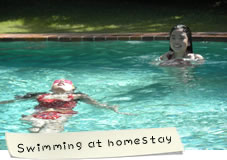 Swimming at homestay